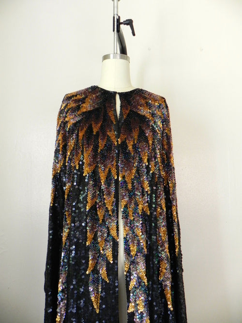 Vintage 1970s 100% Silk Halston Original Sequined Overcoat/Cape - Vintage World Rocks - 2