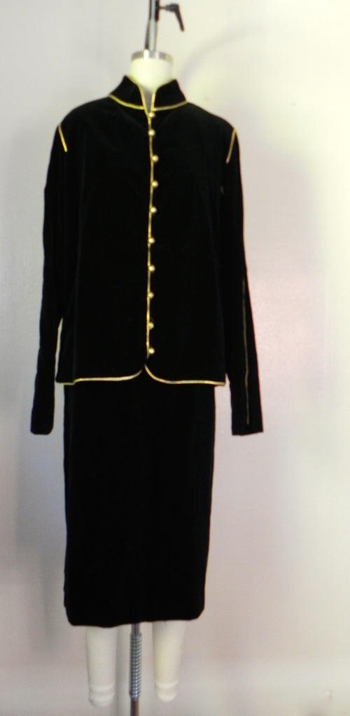 1980s Vintage Victor Costa Black Velvet 2 Piece Jacket and Skirt Set - Vintage World Rocks - 2
