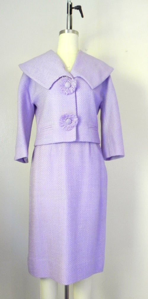 Vintage 1960s Wool Blend Lavender Skirt Jacket Suit Set - Vintage World Rocks - 2