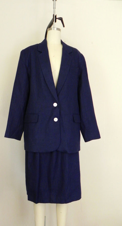 Vintage 1960s Brooks Brother Irish Linen 2 Piece Suit Blazer and Skirt - Vintage World Rocks - 2
