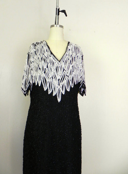 Vintage 1970s Black White Sweelo Silk Sequin Dress - Vintage World Rocks - 2