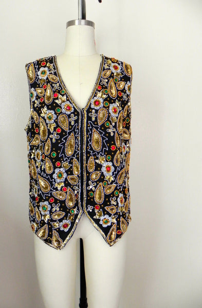 Vintage 1970s Laurence Kazar Beaded Silk Vest - Vintage World Rocks - 3
