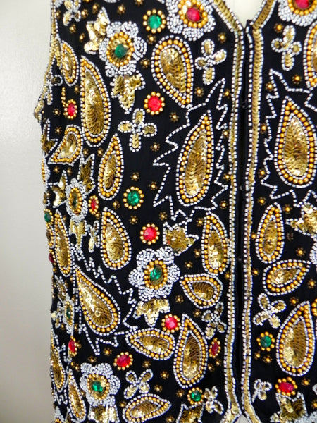 Vintage 1970s Laurence Kazar Beaded Silk Vest - Vintage World Rocks - 4