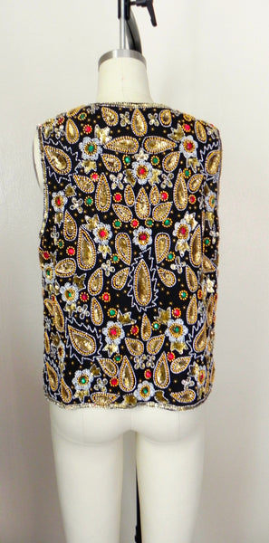 Vintage 1970s Laurence Kazar Beaded Silk Vest - Vintage World Rocks - 6