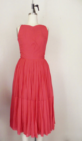 Vintage 1960s Red/Salmon Silk Chiffon Dress - Vintage World Rocks - 2