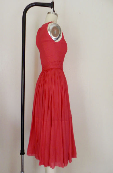 Vintage 1960s Red/Salmon Silk Chiffon Dress - Vintage World Rocks - 3