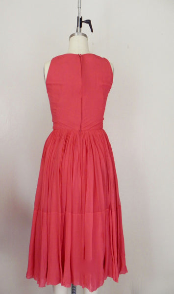 Vintage 1960s Red/Salmon Silk Chiffon Dress - Vintage World Rocks - 4