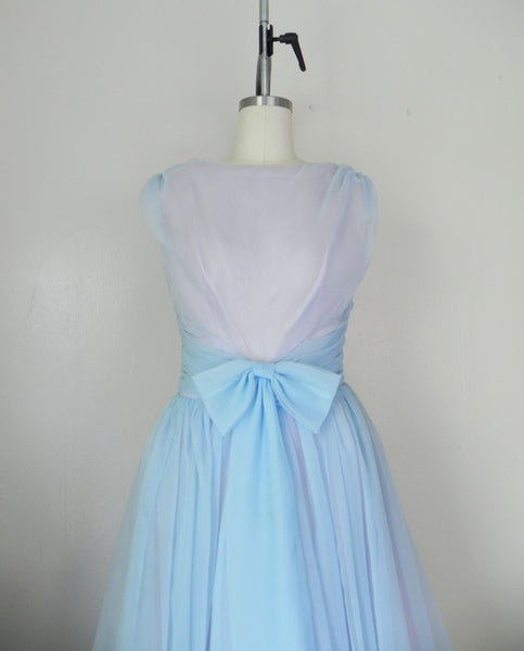 1950s Pastel Blue Sleeveless Dress - Vintage World Rocks - 2