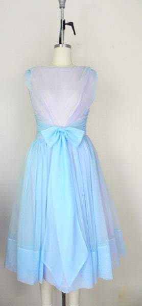 1950s Pastel Blue Sleeveless Dress - Vintage World Rocks - 3