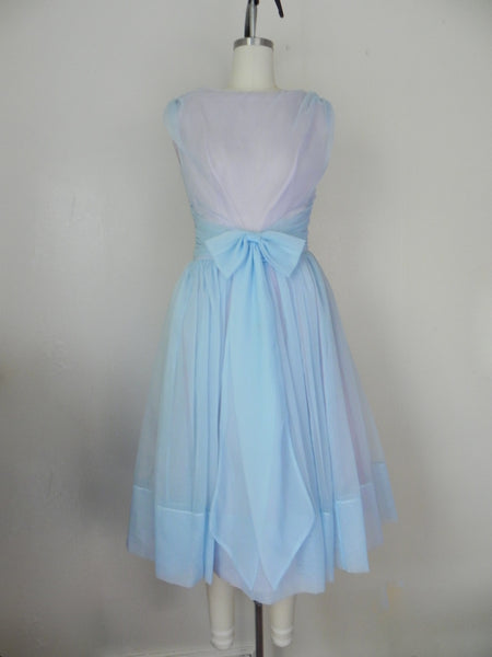 1950s Pastel Blue Sleeveless Dress - Vintage World Rocks - 4