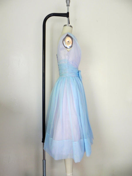1950s Pastel Blue Sleeveless Dress - Vintage World Rocks - 6