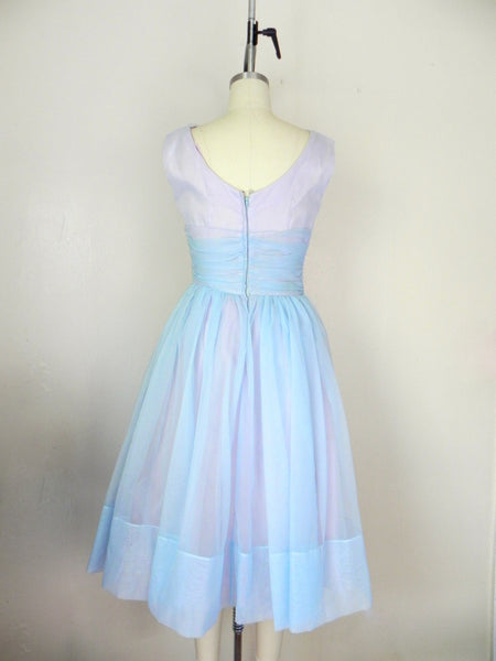 1950s Pastel Blue Sleeveless Dress - Vintage World Rocks - 7