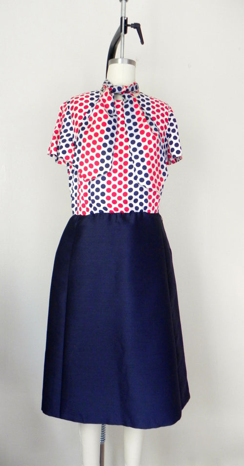 Vintage 1950s- 1960s Red Blue Polka Dot Dress with Jacket Suit - Vintage World Rocks - 2