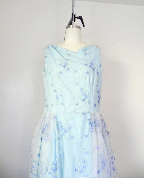 Vintage 1960s Sleeveless Baby Blue Floral Dress - Vintage World Rocks - 2