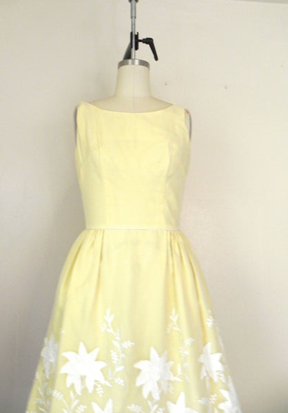 Vintage 1950s Yellow Floral Dress - Vintage World Rocks - 2
