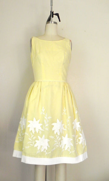 Vintage 1950s Yellow Floral Dress - Vintage World Rocks - 3