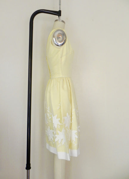 Vintage 1950s Yellow Floral Dress - Vintage World Rocks - 4