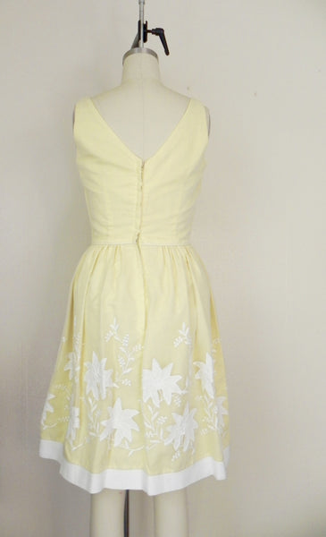 Vintage 1950s Yellow Floral Dress - Vintage World Rocks - 5