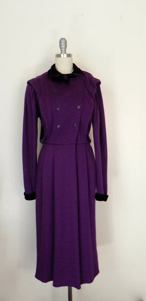 Vintage 1980s Purple Long Sleeve Dress - Vintage World Rocks - 2