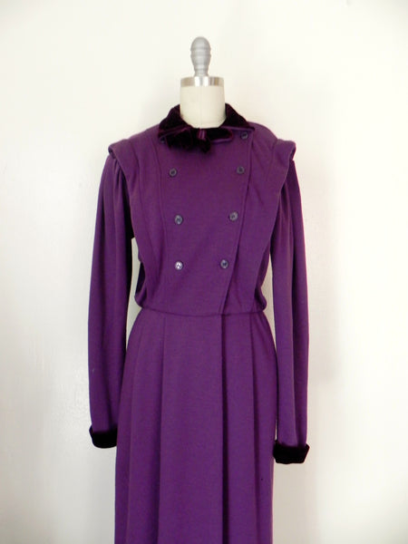 Vintage 1980s Purple Long Sleeve Dress - Vintage World Rocks - 3