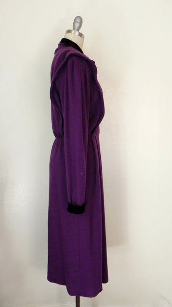 Vintage 1980s Purple Long Sleeve Dress - Vintage World Rocks - 4