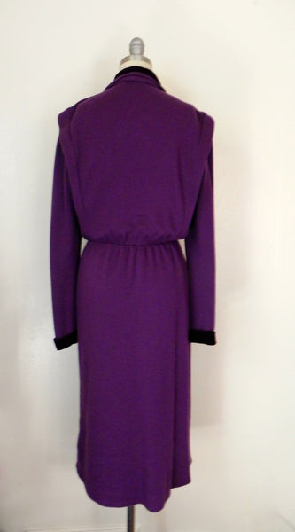 Vintage 1980s Purple Long Sleeve Dress - Vintage World Rocks - 5