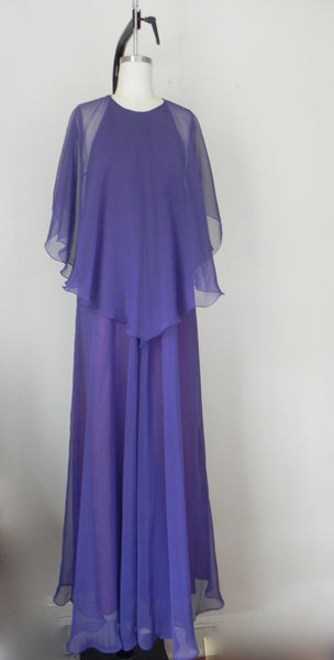 Vintage 1970s Jean Varon Plum Chiffon Evening Gown - Vintage World Rocks - 7