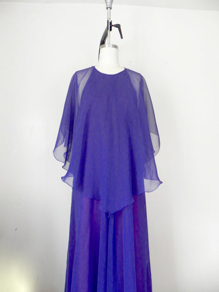 Vintage 1970s Jean Varon Plum Chiffon Evening Gown - Vintage World Rocks - 8