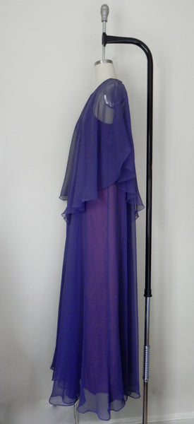 Vintage 1970s Jean Varon Plum Chiffon Evening Gown - Vintage World Rocks - 9