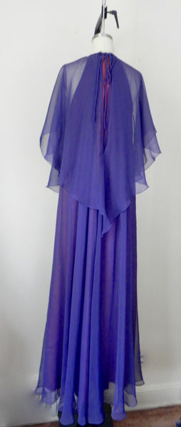 Vintage 1970s Jean Varon Plum Chiffon Evening Gown - Vintage World Rocks - 10