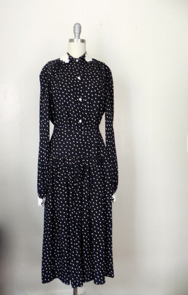 Vintage 1980s Valentino White Polka Dot Silk Skirt and Blouse Set - Vintage World Rocks - 2
