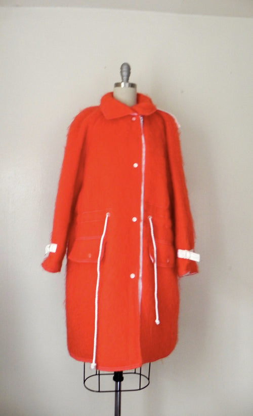Courreges Red Mohair Car Coat - Vintage World Rocks - 2