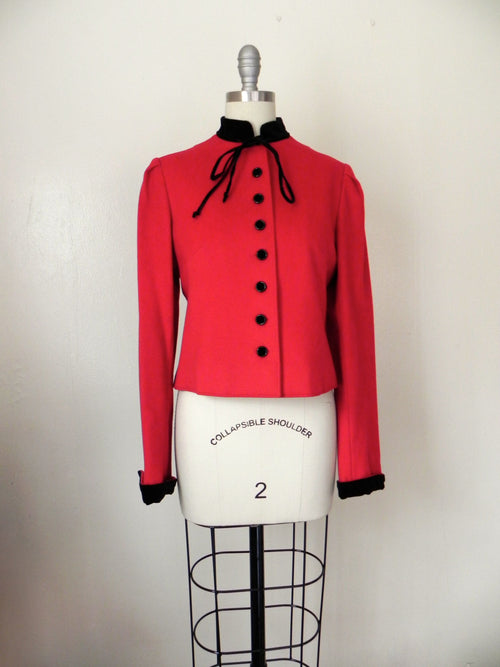 Vintage Valentino Red Wool Crop Jacket - Vintage World Rocks - 2
