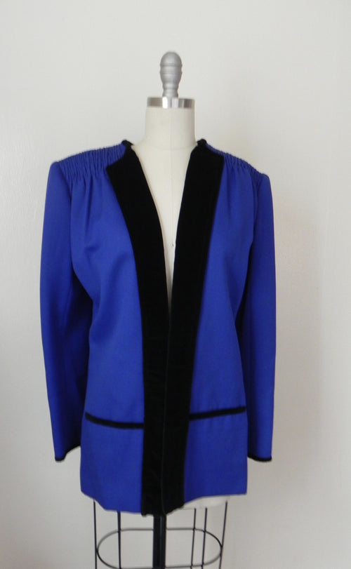 Vintage 1980s Valentino Cobalt Blue Wool Evening Jacket - Vintage World Rocks - 2