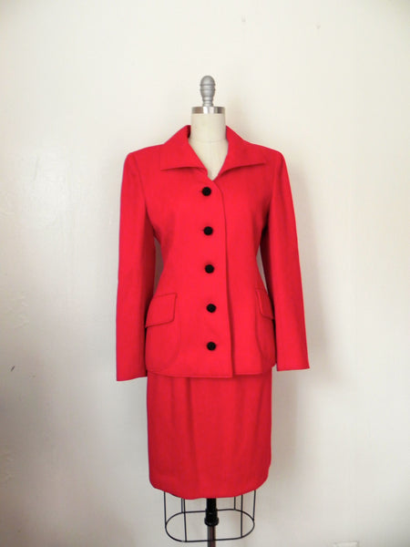 Vintage 1980s Valentino Red Corded Wool Skirt Suit - Vintage World Rocks - 2