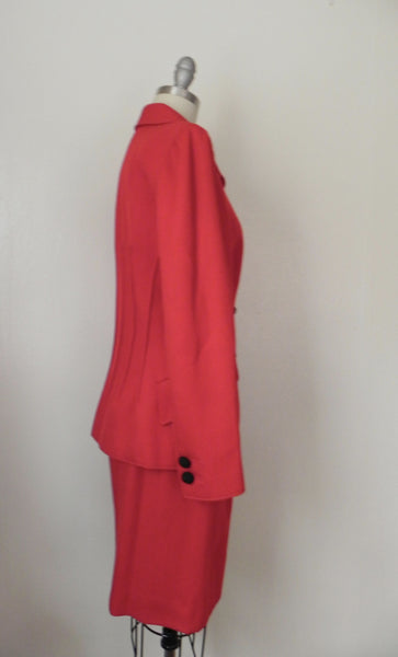Vintage 1980s Valentino Red Corded Wool Skirt Suit - Vintage World Rocks - 3