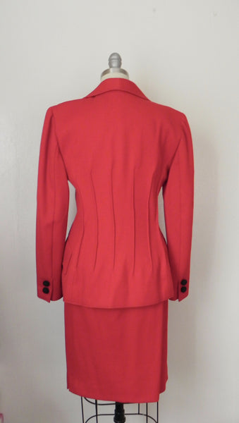 Vintage 1980s Valentino Red Corded Wool Skirt Suit - Vintage World Rocks - 4