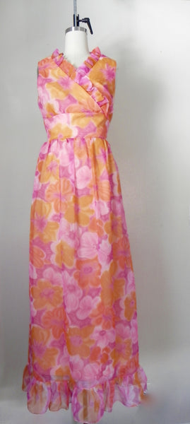 Vintage 1970s Sleeveless Orange Floral Dress - Vintage World Rocks - 3