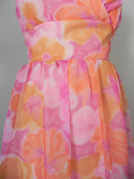 Vintage 1970s Sleeveless Orange Floral Dress - Vintage World Rocks - 4