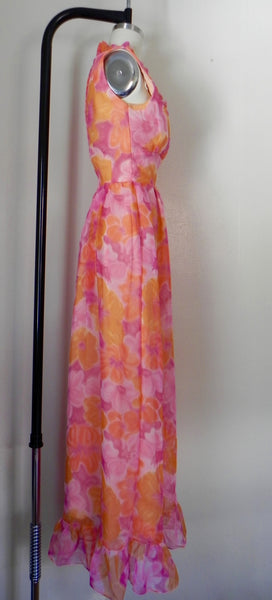 Vintage 1970s Sleeveless Orange Floral Dress - Vintage World Rocks - 5