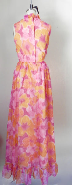 Vintage 1970s Sleeveless Orange Floral Dress - Vintage World Rocks - 6