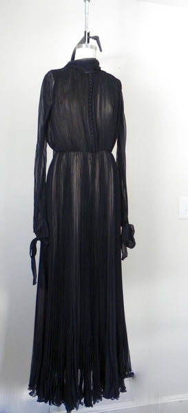 RENTAL ONLY Vintage 1970s Carolina Herrera Black Pleated Chiffon Evening Gown - Vintage World Rocks - 3