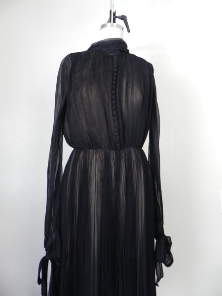 RENTAL ONLY Vintage 1970s Carolina Herrera Black Pleated Chiffon Evening Gown - Vintage World Rocks - 4