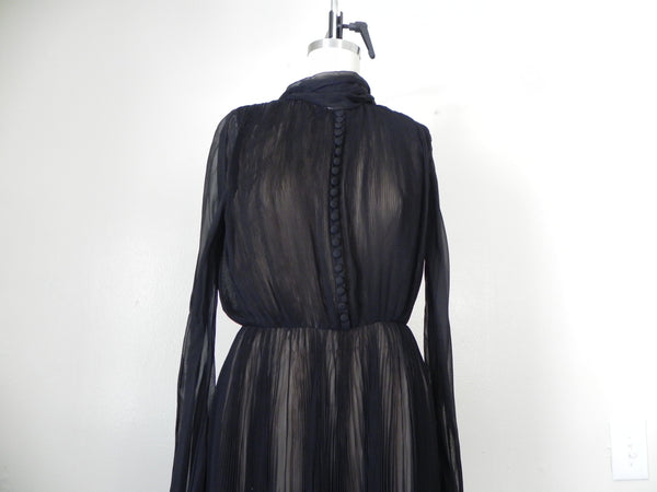 RENTAL ONLY Vintage 1970s Carolina Herrera Black Pleated Chiffon Evening Gown - Vintage World Rocks - 5