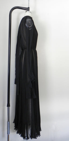 RENTAL ONLY Vintage 1970s Carolina Herrera Black Pleated Chiffon Evening Gown - Vintage World Rocks - 6