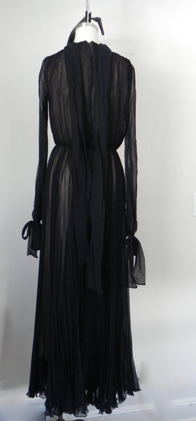 RENTAL ONLY Vintage 1970s Carolina Herrera Black Pleated Chiffon Evening Gown - Vintage World Rocks - 7