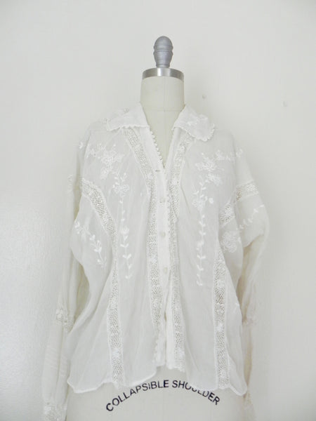 Edwardian Lace Embroidered Blouse - Vintage World Rocks - 4