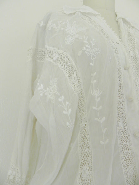 Edwardian Lace Embroidered Blouse - Vintage World Rocks - 5