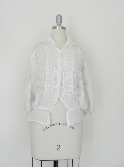 Edwardian Lace Cotton Top Blouse - Vintage World Rocks - 2