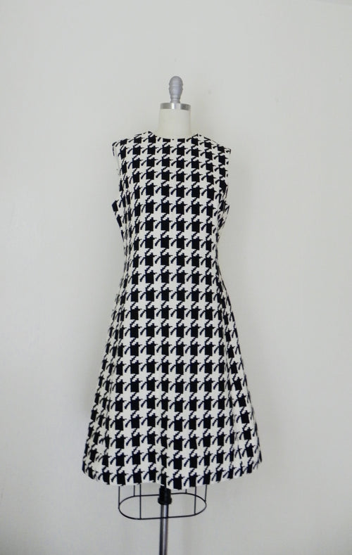 Vintage 1950s Kauffmann's Black White Wool Dress - Vintage World Rocks - 2